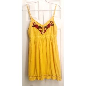 Guess Rose Embroidered Yellow Dress